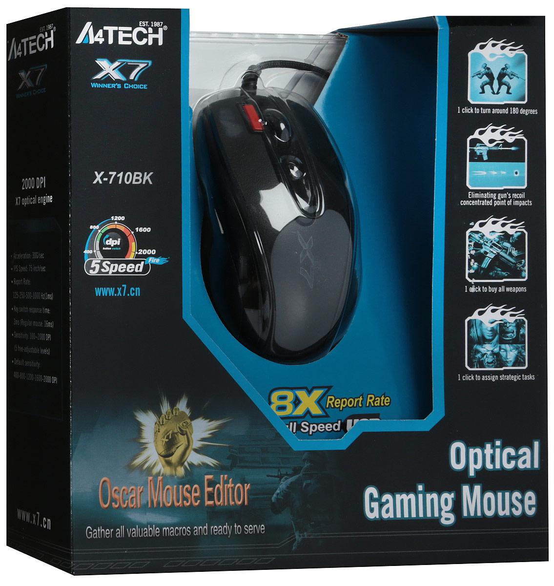 A4Tech X-710BK, Black мышь