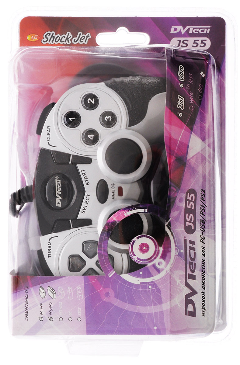 Игровой джойстик для PC/PS1/PS2 DVTech JS55 Shock Jet (черно-серый)