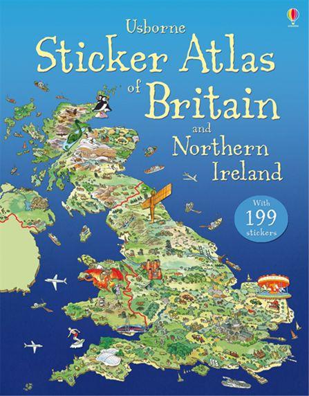 Usborne Sticker Atlas of Britain and Northern Ireland (+ 199 стикеров)
